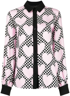 Love Moschino Heart Checkered Print Blouse