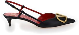 Valentino VLogo Slingback Kitten Heel Pumps