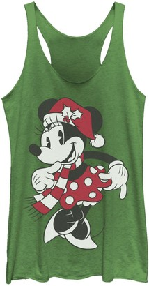 Licensed Character Juniors' Disney's Minnie Mouse Classic Christmas Portrait Tank Top