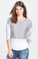 Elodie Stripe Crop Terry Sweatshirt (Juniors)