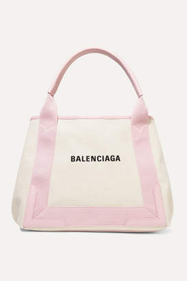 Balenciaga Cabas Small Leather-trimmed Printed Canvas Tote - Ecru