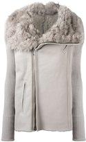 Rick Owens shearling collar biker jacket - women - Cotton/Goat Skin/Virgin Wool - 50
