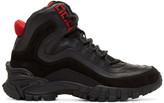 Versace Black & Red Greek Key Formal High-Top Sneakers