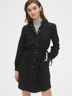 Gap Puff Sleeve Ruffle-Neck Shirtdress