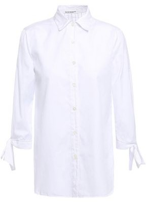 Stateside Bow-detailed Cotton-poplin Shirt
