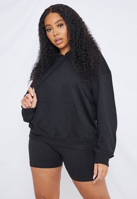 Missguided Plus Size Black Hoodie And Shorts Co Ord Set