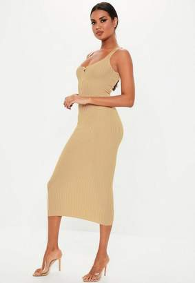 Missguided Camel Knit Ribbed Popper Front Midaxi Dress