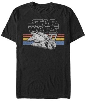 Star Wars Men's Classic Retro Stripes Millennium Falcon Short Sleeve T-Shirt
