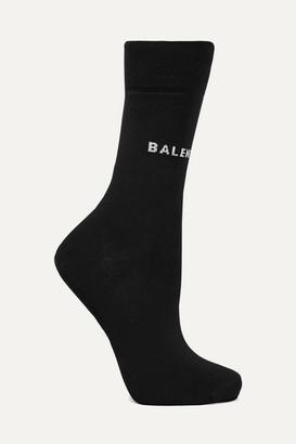 Balenciaga Intarsia Cotton-blend Socks - Black