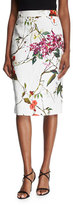 Escada Floral Printed Matelasse Pencil Skirt