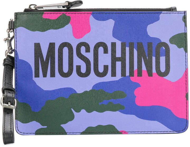 Moschino Logo camouflage clutch bag