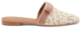 Malone Souliers Mae Lace And Velvet-bow Backless Loafers - Nude