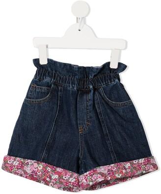 Philosophy Di Lorenzo Serafini Kids Floral-Trimmed Denim Shorts