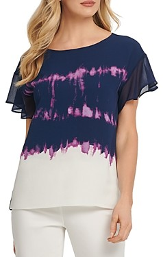 DKNY New York Flutter-Sleeve Tie-Dyed Top