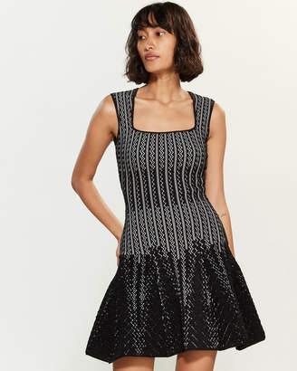 RVN Chevron Square Neck Dress