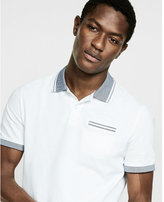 Express tipped cotton pique polo