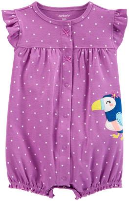 Carter's Girls' Rompers Purple - Purple Polka Dot Toucan Snap-Up Angel-Sleeve Romper - Infant