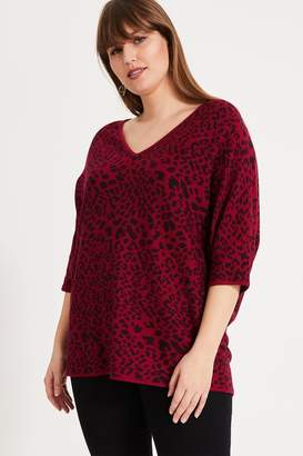 Studio 8 Womens Red Roxanne Animal Knit Top - Red