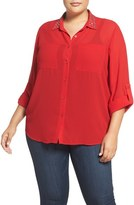 MICHAEL Michael Kors Embellished Collar Blouse (Plus Size)