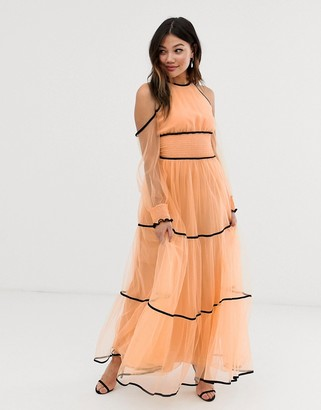 True Decadence premium off shoulder maxi dress with contrast trim in apricot-Pink