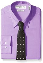 Nick Graham Everywhere Men's Purple Solid Dress Shirt with Black Two Color Dot Tie