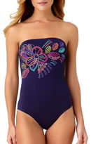 Anne Cole One-Piece Embroidered Bandeau Swimsuit