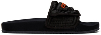 Heron Preston Black Slider Pool Slides