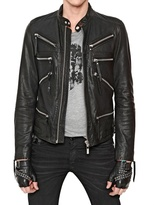 Karl Lagerfeld Zip Up Leather Biker Jacket