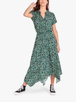 Hush Kensington Abstract Floral Print Hanky Hem Shirt Maxi Dress, Green