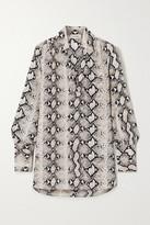 L'Agence Braydon Snake-print Silk Tunic