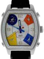 Jacob & co Diamond 5 Time Zone White MOP Stainless Leather 44mm Mens Watch