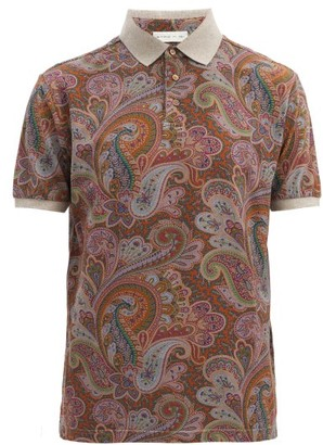 Etro Paisley-print Cotton-pique Polo Shirt - Orange Multi