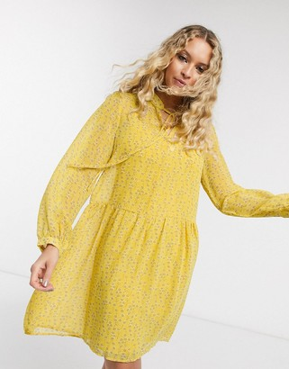Only chiffon smock dress with neck tie in yellow ditsy floral