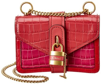 Chloé Aby Chain Mini Croc-Embossed Leather Shoulder Bag