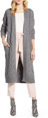 Halogen Cable Knit Long Cardigan
