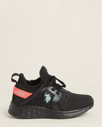 U.S. Polo Assn. Toddler/Kids Girls) Black & Coral Hadi Low-Top Sneakers