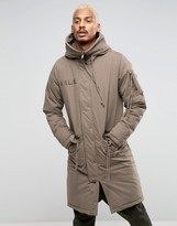 Asos Parka Jacket With Strap Detail In Putty