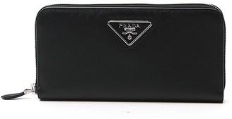 Prada Triangle Logo Zip-Around Wallet