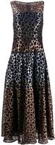 Talbot Runhof leopard lace mix dress