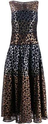 Talbot Runhof Leopard Lace Mix Dress