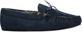Yours Clothing Navy Faux Suede Moccasin Slipper With Fur Lining