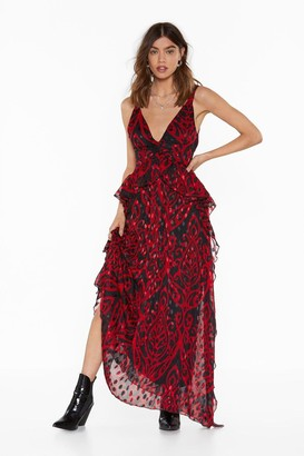 Nasty Gal Womens Red Jacquard Maxi Dress with Plunging V-Neckline