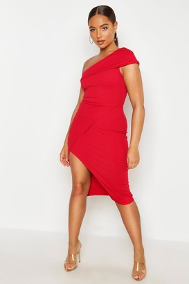 boohoo One Shoulder Wrap Skirt Midi Dress