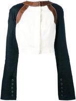 Loewe Ivoire cropped jacket - women - Linen/Flax/Lamb Skin - 38
