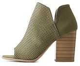 Charlotte Russe Perforated Peep Toe Ankle Booties