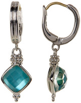 Judith Ripka Sterling Silver Vintage Cushion Teal Triplet Drop Earrings