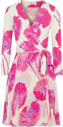 Diane von Furstenberg Irina Printed Silk-chiffon And Jersey Mini Wrap Dress