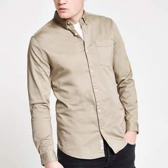 River Island Mens Ecru button-down long sleeve shirt