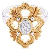 Buccellati 'Opera' diamond 18k white and yellow gold floral ring