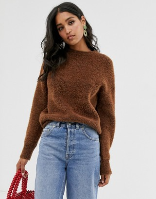 French Connection crew neck textured jumper-Brown